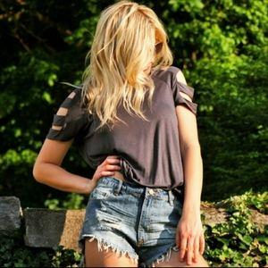Slit Sleeve  charcoal t-shirt top 🔥$ale🔥